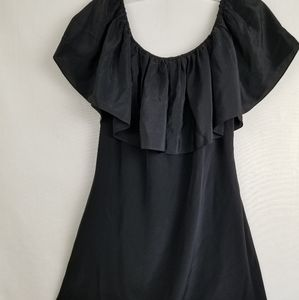 Roe + May Black Silk Off The Shoulder Tunic Dress
